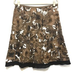 NIC AND ZOE BROWN BLACK COTTON A LINE FLORAL SKIRT